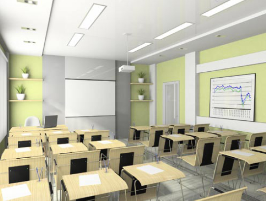 Figure 4-18. Interior of a lecture room designed for trainings with enhanced training materials utilizing projection equipment.