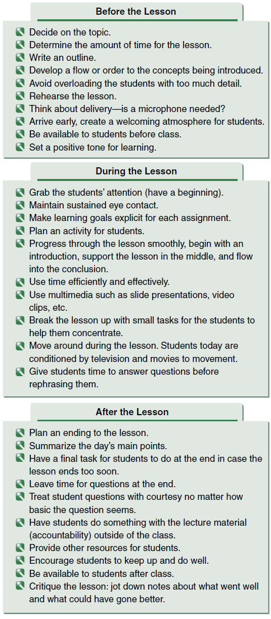 Figure 4-6. Guidelines for presenting lessons.