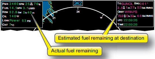 Figure 5-21. Fuel remaining and endurance shown on an MFD.
