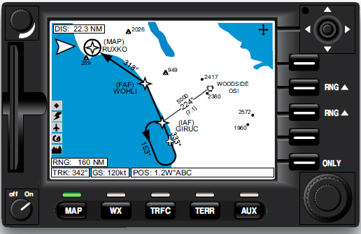Figure 5-24. An instrument approach procedure shown on an MFD.
