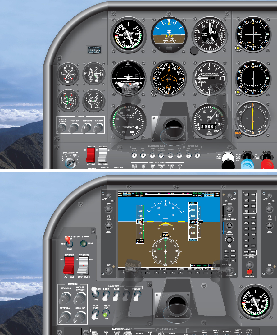 Figure 7-2. Two flight decks equipped with the same information but in two different formats: analog and digital. What are they indicating? Chances are that the analog pilot will review the top display before the bottom display. Conversely, the digitally trained pilot will review the instrument panel on the bottom first.