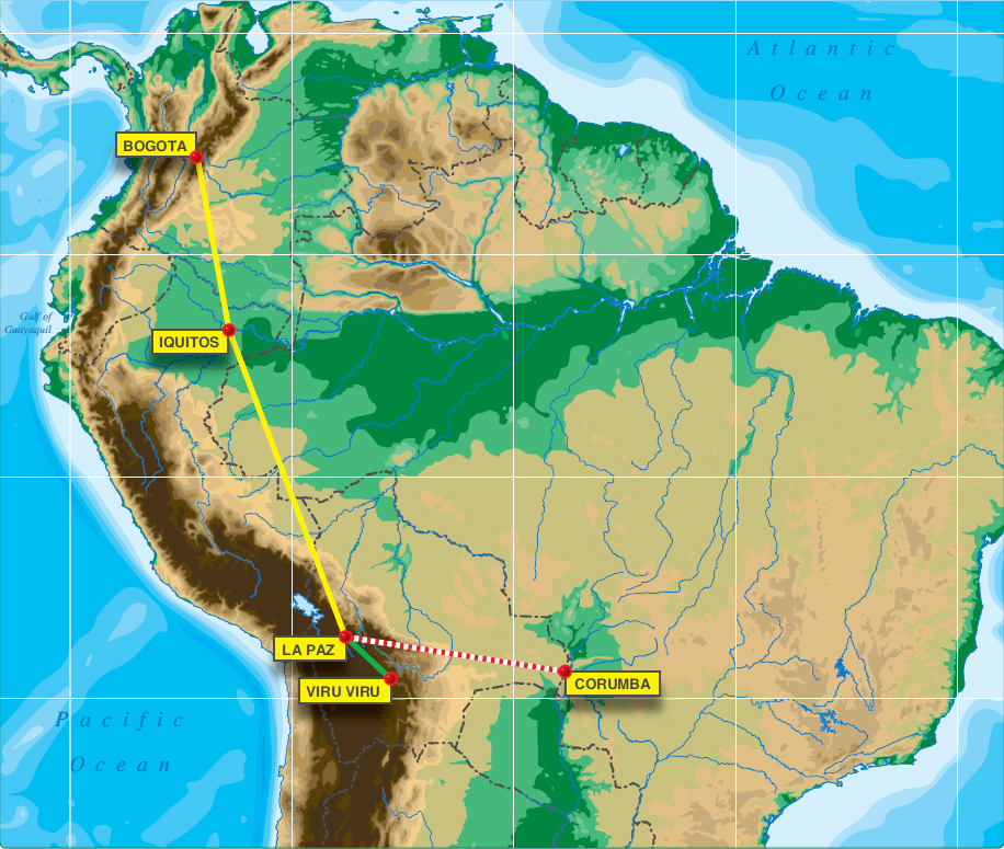 Figure 7-3. The pilots of a King Air 200 had a flight from Bogota, Colombia, to Iquitos, Peru, (for fuel) and then to La Paz, Bolivia, as final destination. They listed Viru Viru (located at Santa Cruz, Bolivia) as their alternate. The aircraft was equipped with a Bendix King KNS 660 that provided integrated navigation solutions based upon VOR, DME, and two variants of VLF radios. At that time, GPS had not yet been integrated into the FMS.