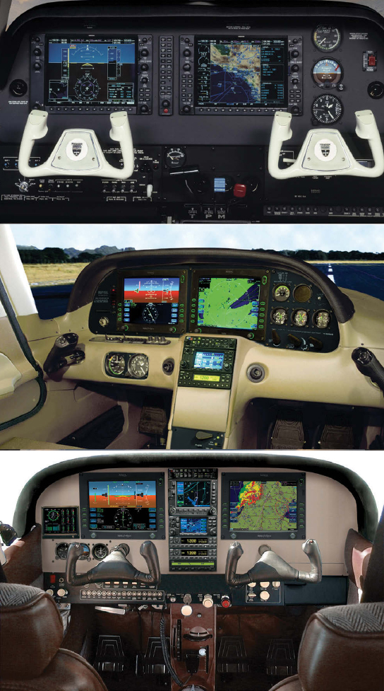 Figure 7-5. Examples of different platforms. Top to bottom are the Beechcraft Baron G58, Cirrus SR22, and Cessna Entegra.