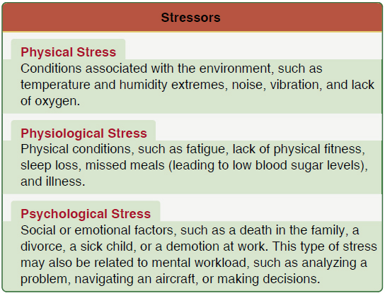 Figure 8-10. Three types of stressors that can affect pilot performance.
