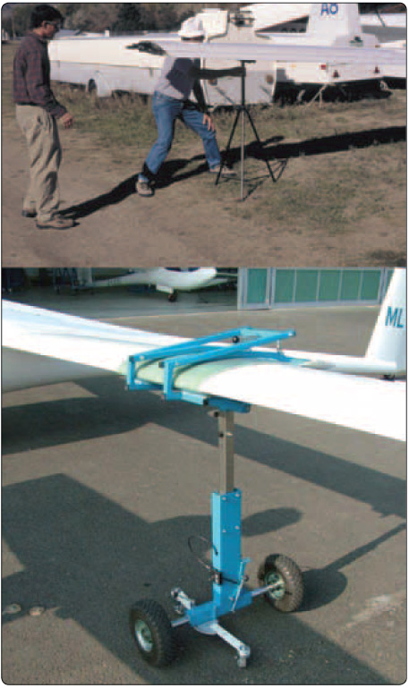 Figure 6-1. Wing stands and wing dollies are used as support when assembling the glider.