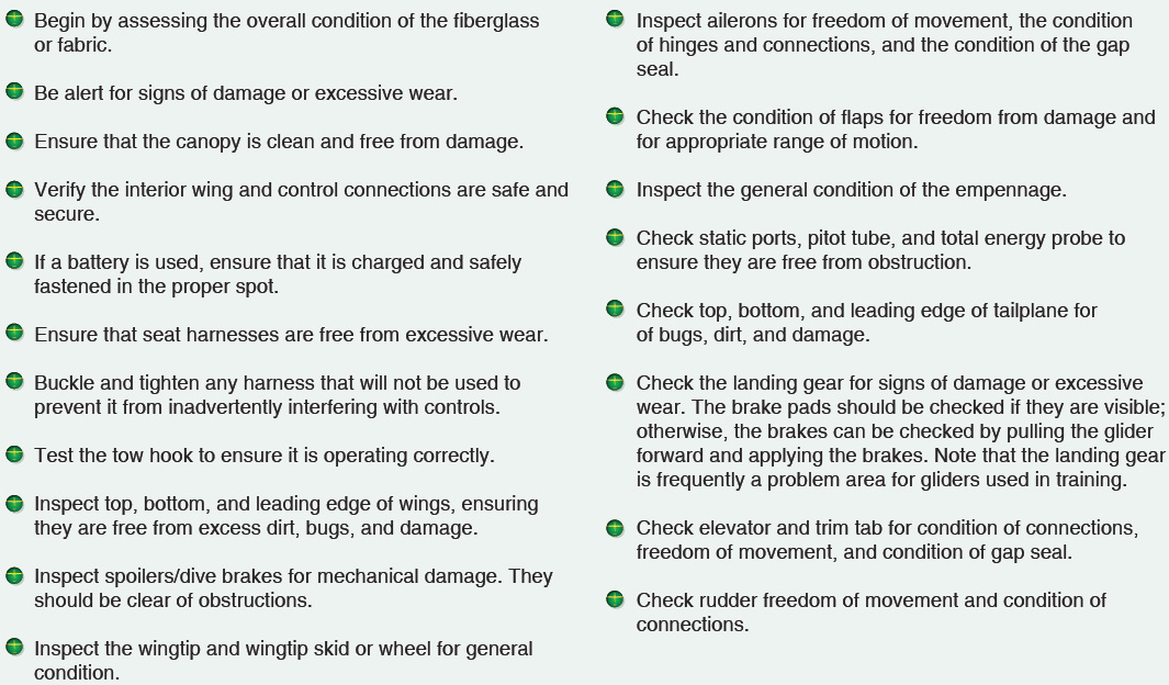 Figure 6-13. A glider preflight inspection checklist.