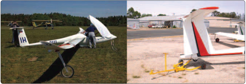 Figure 6-7. A wing dolly (left) ready for attachment and a tail dolly (right) being used for glider transport.