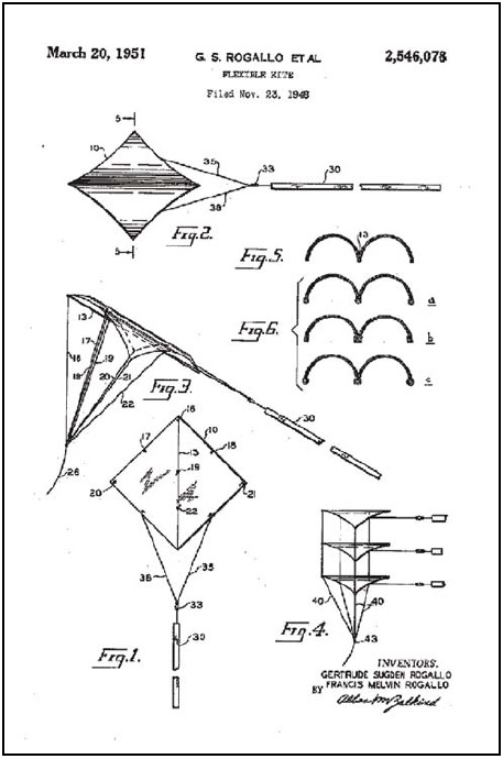 Figure 1-3. Rogallo's flexible wing for a kite, submitted for patent in 1948.