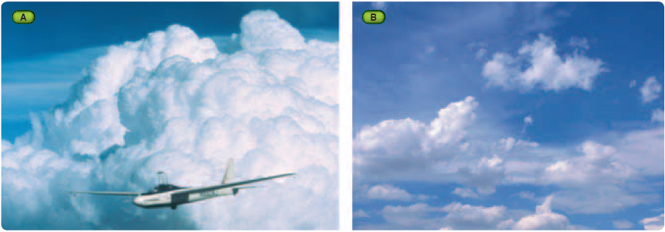 Figure 10-1. Photographs of (A) mature cumulus probably producing good lift, and (B) dissipating cumulus.