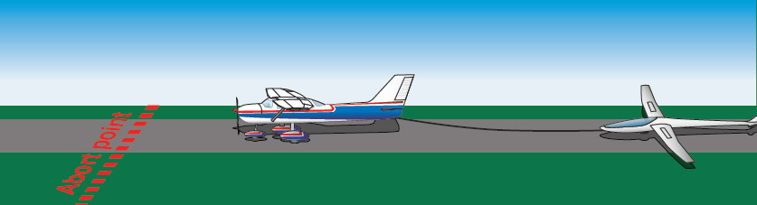 Figure 12-10. A physical abort point on the runway should be determined and briefed to the glider pilot before starting the towing procedures.