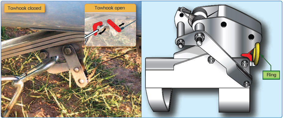 Figure 12-4. Schweizer tow hook (left) and a Tost tow hook (right).