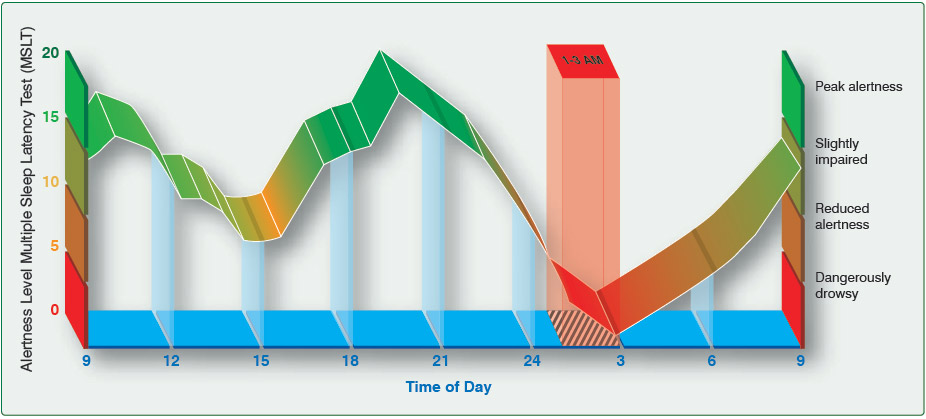 Figure 13-5. Many human variables rise and fall daily due to one's natural circadian rhythm.