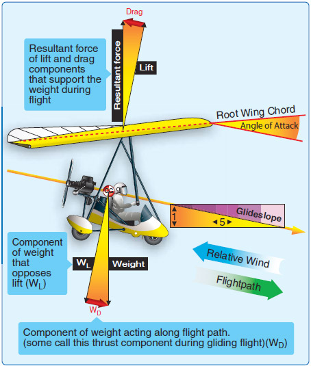 Figure 2-19. Typical forces in gliding flight with no engine thrust.