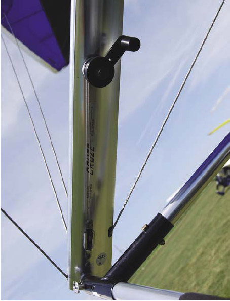 Figure 3-22. A crank on the downtube of the control bar that adjusts the trailing edge reflex during flight.