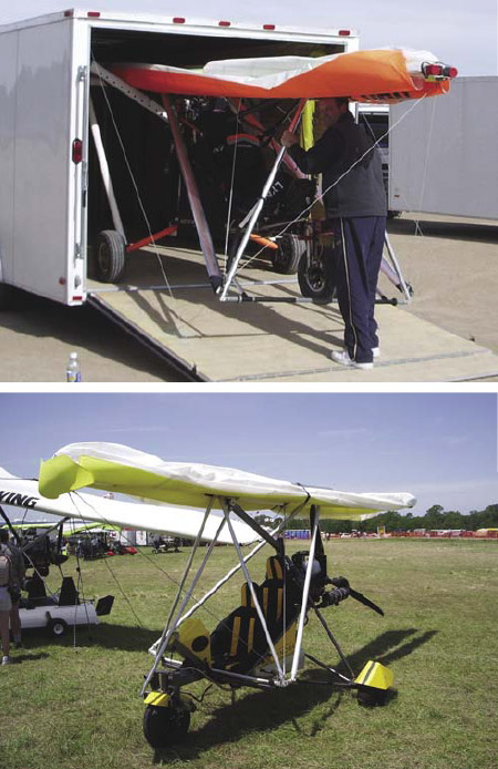Figure 3-9. A strutted wing folded back so it can fit into a trailer for storage and easy transport (top). Strutted wing with wings folded back for easy storage (bottom).