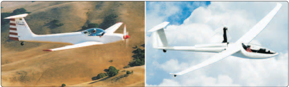 Figure 7-22. Types of self-launching gliders.