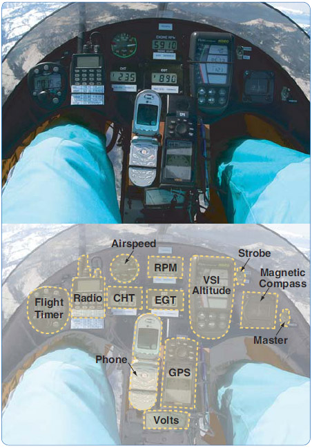Figure 3-46. Instrument hybrid—analog airspeed and compass indicator with separate digital instruments.