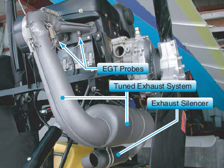 Figure 4-8. Two-stroke tuned exhaust system with EGT probes installed where the exhaust enters the exhaust system.