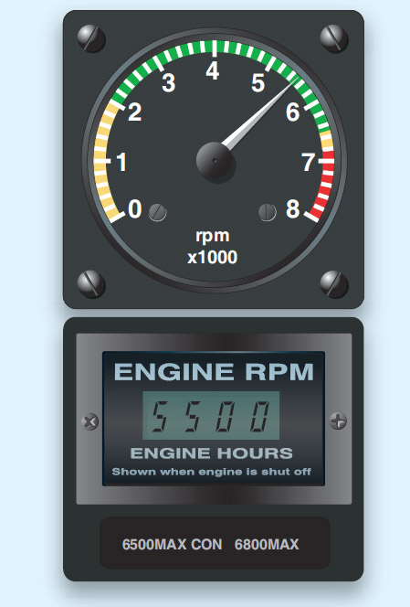 Figure 4-9. Engine rpm is indicated on the analog gauge (top) and the digital gauge (bottom).
