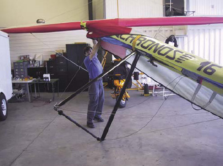 Figure 5-14. Rotating the wing onto its control frame.