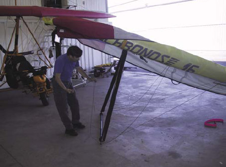Figure 5-15. Placing the front wires at the control frame.