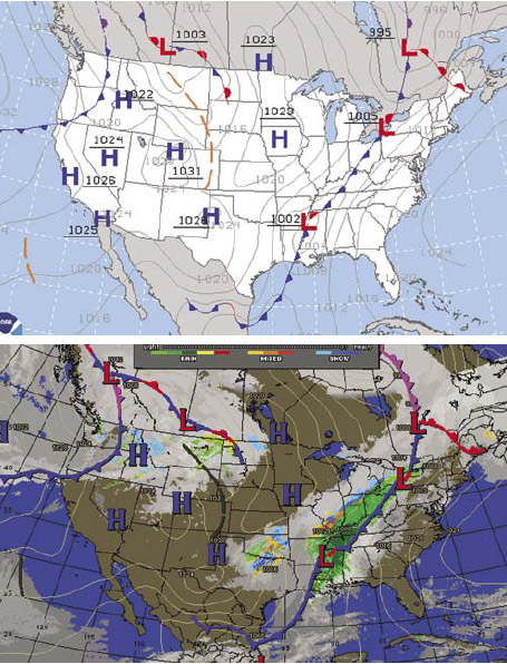 Figure 5-4. Standard surface analysis showing fronts, pressure systems, and isobars (top) and composite surface analysis which adds radar and infrared satellite to show cloud cover (bottom).
