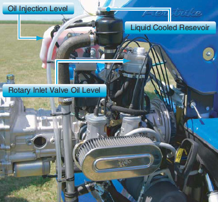 Figure 5-61. Two-stroke engine showing oil injection reservoir and level, rotary inlet valve reservoir and level, and liquid cooled reservoir for checking coolant levels.