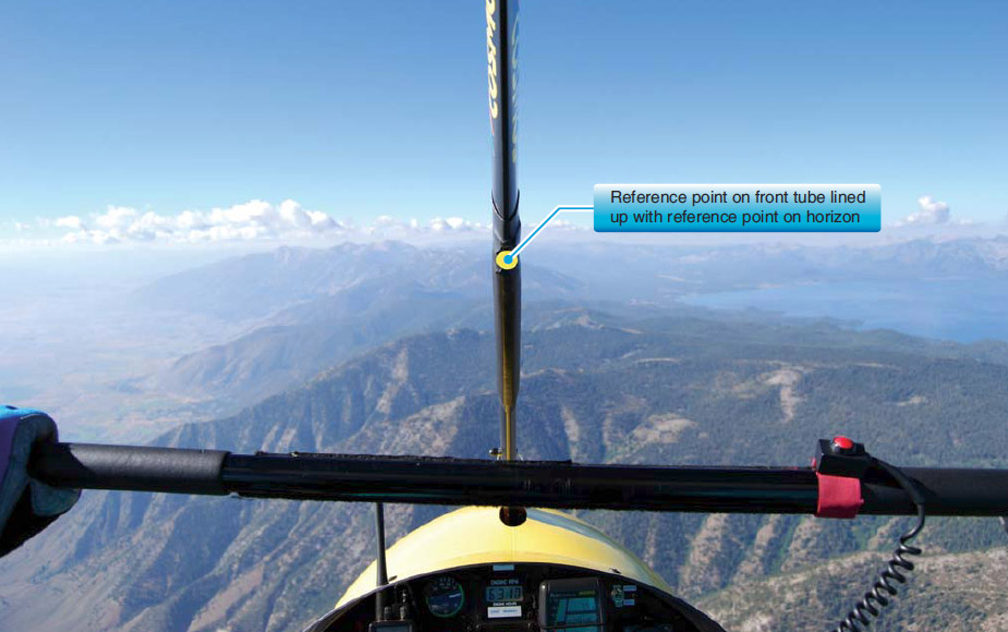 Figure 6-7. Pilot's view of a reference point on the front tube chosen for level flight and lined up with the reference point on the horizon for straight-and-level flight.