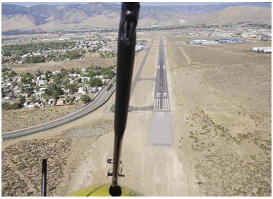 Figure 11-28. Pilot view of runway where a steep approach would be required.