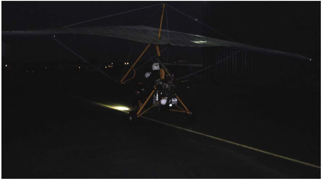Figure 12-4. Landing light on WSC aircraft taxiing at night.