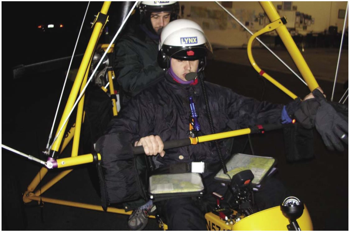 Figure 12-5. WSC aircraft equipped for night cross-country flight with flashlight and aeronautical charts on kneeboards.