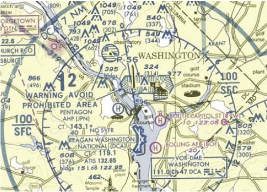 Figure 8-13. Prohibited area in Washington, D.C., on a sectional chart.