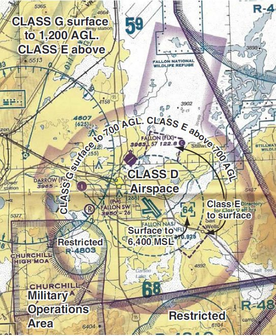 Figure 8-8. Class D airspace shown on a sectional chart.