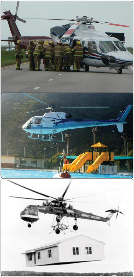 Figure 1-3. The many uses for a helicopter include search and rescue (top), firefighting (middle), and construction (bottom).